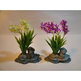 Mepai Set Por Dos Flores Con Base De Piedra Mm18354