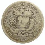 Moneda 5 Bolívares, Fuerte 1886 Variante Normal- 2do 8 Alto