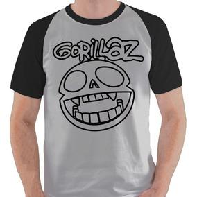 Camiseta Gorillaz Banda Logo Camisa Blusa Raglan