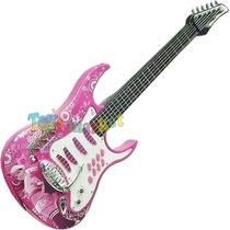 Guitarra Rosa De Rock Eléctrica Karaoke Micrófono Y Correa