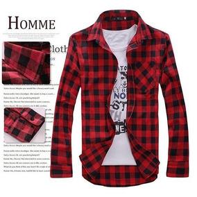 Camisa Hombre A Cuadros / Rojo Con Negro