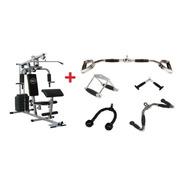 Estação De Musculação Com 80kg + Kit Puxadores Completo