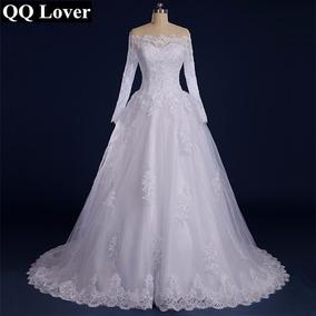 Aluguel De Vestido De Noiva Importado Manga Longa Cauda