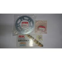 Kit Relação Nc 700 Corrente Rk Gold Coroa E Pinhão Original