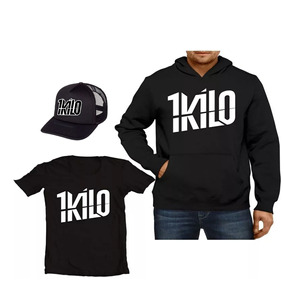Kit Moletom+camisa+boné Banda 1kilo Rapper Hip-hop Blusa Mus
