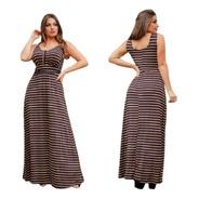 Vestido Feminino Longo Com Bojo - Preto Com Listras Douradas