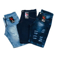 Kit  3 Bermudas Jeans Masculina Atacado Revenda Fabrica