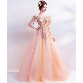 Vestido De Debutante Laranja 34 36 38 40 42 44 46 - Va00287