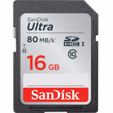 Sandisk Sdhc Ultra 80mb/s 266x 16gb Sd Câmera Nikon Samsung