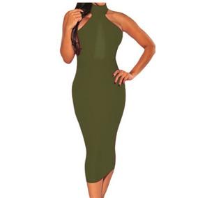 Vestido Verde Olvio Medio Cuello Abierto Por Delante