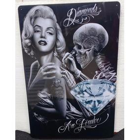 Placa Decorativa Marilyn Monroe Tatuagem - 40 Cm