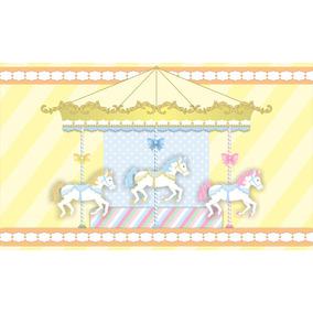 Painel De Festa Infantil 3,00x1,70 Carrossel Azul Amarelo