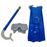 Kit Mergulho Azul Infantil Mascara Snorkel E Pe De Pato