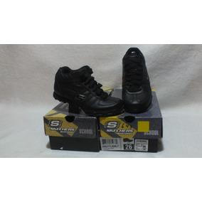Zapatilla Negra Con Caña Niña Nº 26 Marca Skechers