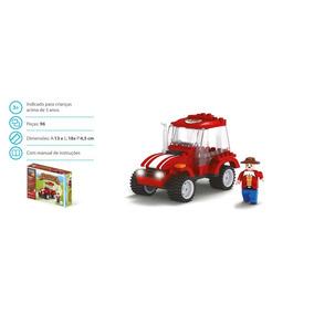 Brinquedo Blocos De Montar Com 96peças Fazenda Trator