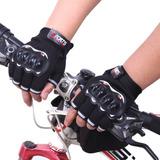 Guantes Medio Dedo Bici Moto Protección Nudillos Dedo Corto