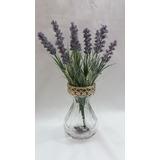 Arranjo Floral Vaso De Vidro C Flor Artificial Lavanda