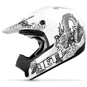 Capacete Motocross Pro Tork Jett Tattoed Th1 Trilha Branco