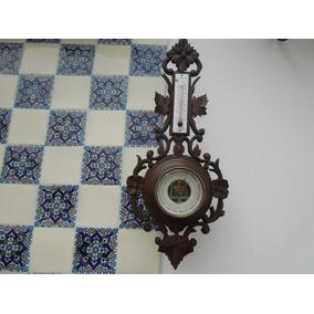 Barómetro Termómetro Antiguo Madera Tallado Aleman