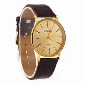 Relógio De Ouro Luxo Masculino Pulseira De Couro