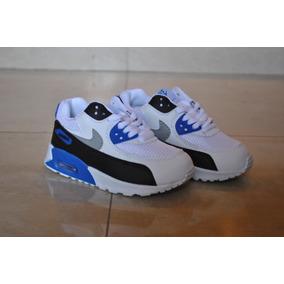 4827fdec1 Kp3 Zapatos Nike Air Max 90 Blanco Azul Para Niños Solo 30