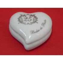 Lembranças Porcelana Porta Joia Coração Decorada Bodas Prata