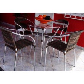 Conjunto 4 Cadeira Dalia Em Fibra Sintética Para Varanda