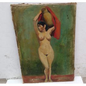 Antigua Pintura Desnudo De Dama Firmado Por Rivera
