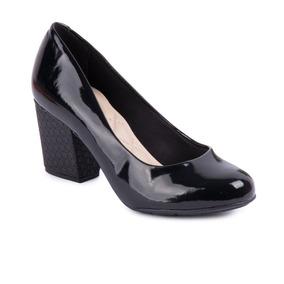 Sapato Moleca Salto Grosso Verniz Cristal Brilho Preto