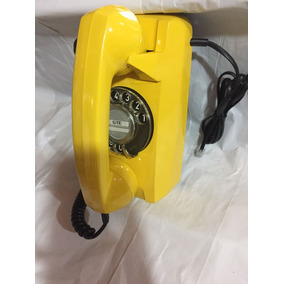 Telefone Tijolinho De Disco De Parede Cor Amarelo