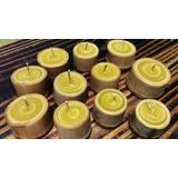 Vela Artesanal De Cera De Abelha Em Bambu Aroma Laranjeira