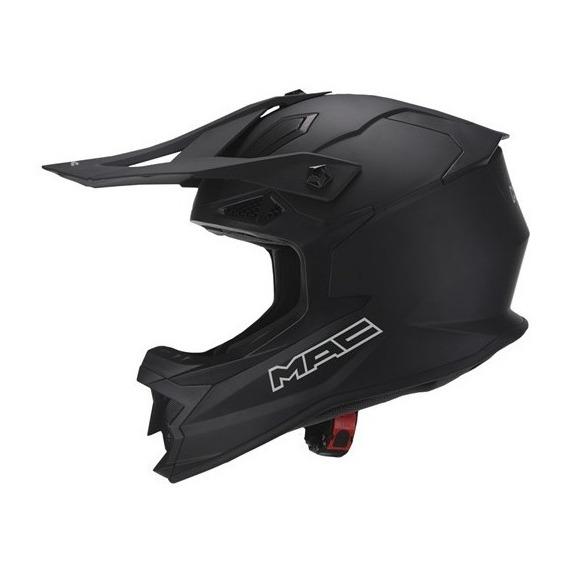 Casco Moto Cross Mx Mac Virtus Solid Negro Mate Devotobikes