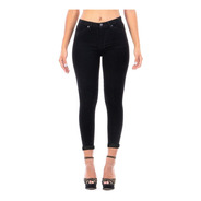 Pantalón Jeans Mezclilla Stretch Negro Dama Con Dobladillo