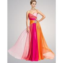 Vestido De Noche Strapless Fiesta De Chiffon Cristales Color