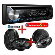 Combo Pioneer Deh X 3950 Bluetooth + 4 Parlantes Pioneer