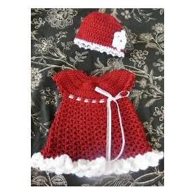 Vestido Y Gorro Tejidos Niña Crochet Tema Navidad