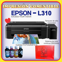 Epson L310 + 100 Obleas Comestible Modecor + Kit De Tinta