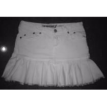 Falda Corta Jean Color Blanco Minifalda Talla S