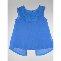 Blusa Azul Com Abertura Nas Costas