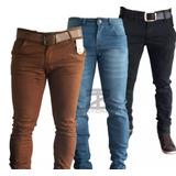 Kit 3 Calça Jeans Sarja Masculina Skinny C/ Lycra Colorida