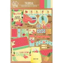 Kit Imprimible Tropical Flamingo Sandia Candy Bar Deco !