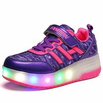 Tenis Luces Led Patines Lafreddy Blink Wheeled Skate Shoe 12