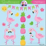 Kit Imprimible Pack Flamingos Imagenes Clipart Rosa Nena Png