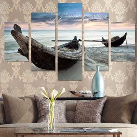 Cuadros Mar Kayak Amanecer Playa Arena - Decoración Y Arte