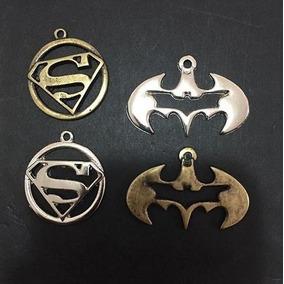 Pingente Batman E Super Man Super Homem Prata E Ouro Velho