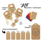 Kit Tag Rentangular E Tag Brinco C/ Personalização E Sisal