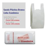 Sacola Plastica Camiseta Branca - 38x48 - Econômica- 2000 Un