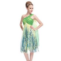V1295 Vestido De Coctel, Vestido Estampado Verde