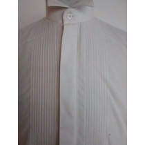 Camisa Vestir/fiest Cuello Palomita Plisada C/ Puño P/gemelo