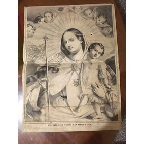 Litografia Virgen De La Merced.j.m. Macías Puebla 1852